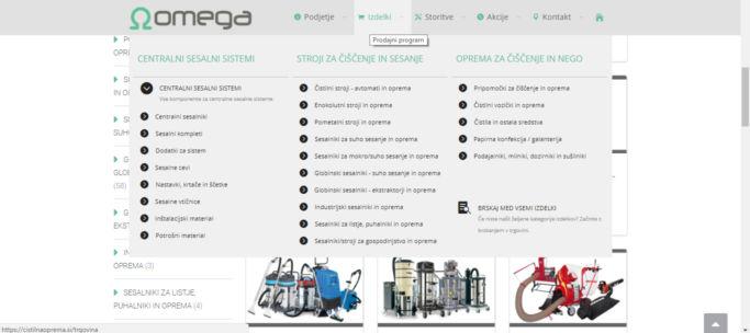Spletna stran - meni in izdelki