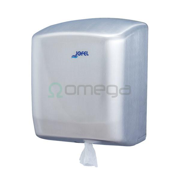 Podajalnik papirnatih brisač FUTURA centralni izvlek Maxi 205 mm INOX saten AG45000