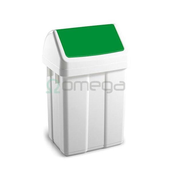 Koš za smeti FILMOP PATTY za recikliranje nihajni zelen z vpenjalom