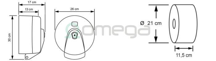 Podajalnik toaletnega papirja rolic SMART ONE THiN centralni izvlek - mere in dimezije papirja