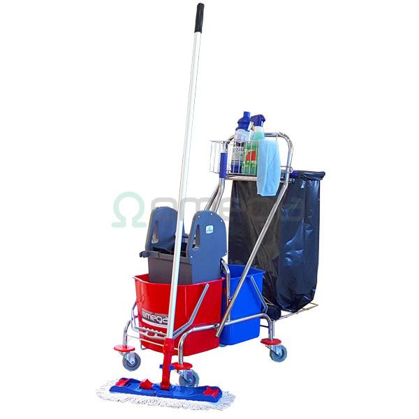 Čistilni voziček z ožemalnikom in dvema vedroma