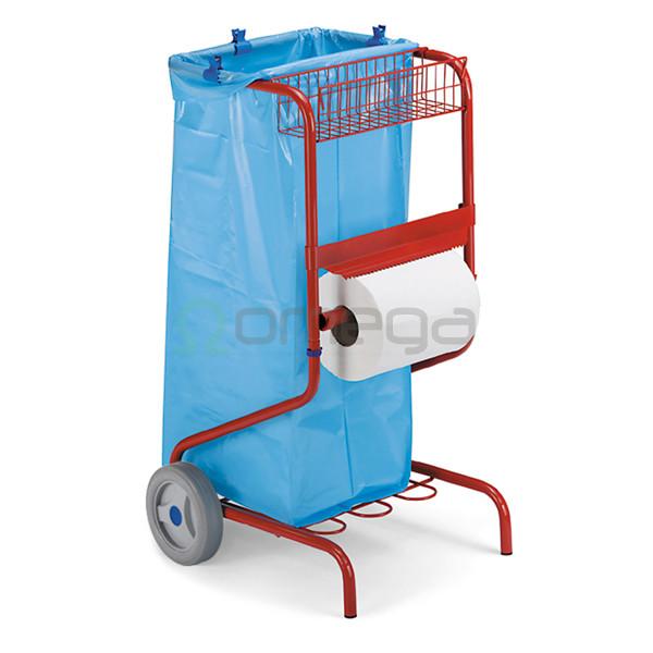 Podajalnik industrijskih brisač na vozičku s košem in košaro
