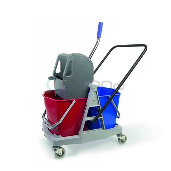 Manjši profesionalni dvovedrni čistilni voziček DUO 217P