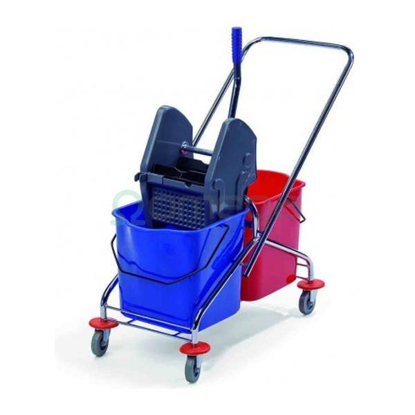 Profesionalni čistilni voziček kromiran dvovedrni DUO 223