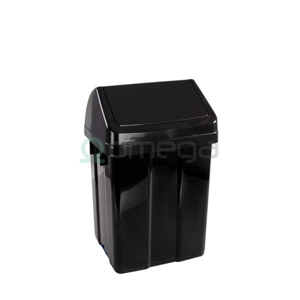 Koš za smeti FILMOP Patty z nihajnim pokrovom črne barve 12 l