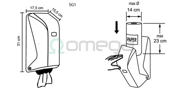 Podajalnik za brisače rola centralni izvlek mini - shema
